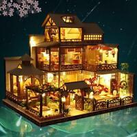 Xmas Japanese Villa Dollhouse DIY Doll House Miniature Furniture LED Light Kits