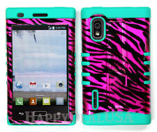 Hybrid Silicone Cover Case for LG Optimus Extreme L40g / L5 - Zebra Pink