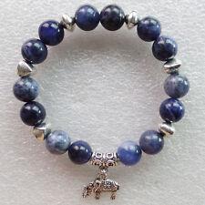 10mm Natural Old Sodalite & Tibetan Silver Elephant Stretchy Bracelet 7.5 inch
