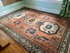 Antique Turkish Caucasian 8'x12' Hand-Knotted Wool Rug Tribal Rust Blue