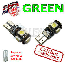 2 x Green Bright Canbus LED Side Plate Interior Light 5 SMD 501 T10 W5W Bulbs
