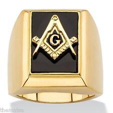 MASONIC MASON 14K GOLD ONYX SQUARE COMPASSES RING GP SIZE  8 9 10 11 12 13