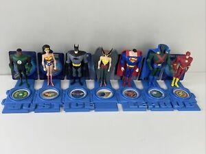 "Mattel 2003 DC Justice League JLU 5"" Lot 7 figure set with Hawk Girl stand cards"
