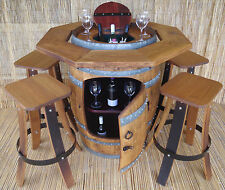 SOLID TIMBER BARREL BAR SETTING sugar gum top  MATCHING STOOLS DELIVERY POA