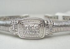 NEW $525 Judith Ripka Silver Bangle Sterling 925 White Sapphire Hinged Cuff