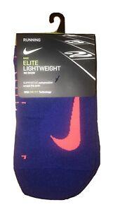 Nike Elite Lightweight Dri-Fit Running No Show Socks Blue Coral Men 12-13.5 $16