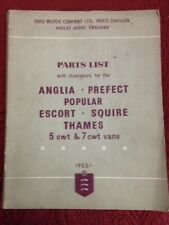 Ford Motor Company 1953 England PARTS  LIST Anglia Prefect 5 CWT & 7CWT Vans