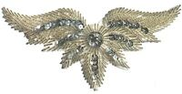 Wings Large Beaded Sequined Sew-On Applique Craft Patch Vintage w/ COLOR OPTIONS