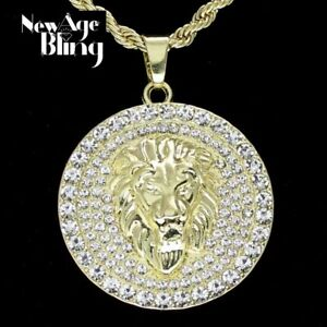 """Mighty Lion Mens Iced Cz Round Pendant 24"""" Rope Chain 14k Gold Plated Hip Hop"""