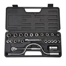 """25 Piece Metric 1/2"""" Drive Socket Set Carbon Steel Heat Treated Case Heavy Duty"""