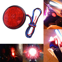 LED Red Motorcycle Round Reflector Tail Brake Turn Signal Light Lamp Bulbs