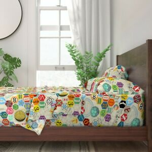Math Mathematics Polygons Dna Origami 100% Cotton Sateen Sheet Set by Roostery