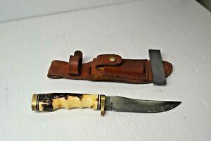 SCHRADE USA Uncle Henry Golden Spike Knife 153UH VINTAGE Hunting Leather Sheath