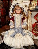 Pat Loveless Blue Jumeau Antique Victorian Reproduction French Doll  26""