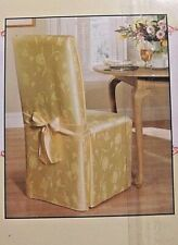 "2 LT YELLOW DAMASK CHAIR COVER FIT ARMLESS CHAIR UP TO 42"" TALL COTTON/POLYESTER"