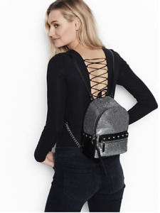 Victoria's Secret Black Faux-Leather Silver Studded w/ Glitter Backpack NEW