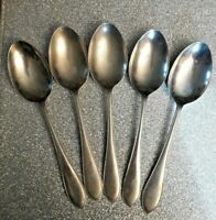 Set of 5 Potters Silva Silver Plated Cutlery 17.5cms Dessert Spoons VGC