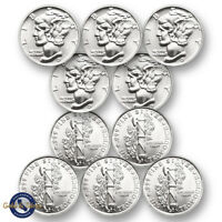 Lot of 10 -- New 1/10 oz Mercury Design .999 Fine Silver Rounds