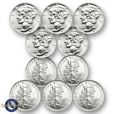 Lot of 10 - New 1/10 oz Mercury Design .999 Fine Silver Rounds