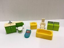 Vtg Fisher Price Little People Washer Dryer Bath Sink Toilet Scale Barber Chair