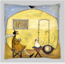 Sam Toft Estilo Amarillo caravana Lino Mezcla de doble cara Cushion Covers 18x18