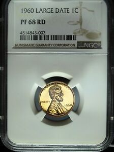 1960 NGC PF 68 Large Date Red Lincoln Cent ☆☆ Great Details ☆☆ Flashy Red ☆☆ 002