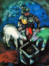 """MARC CHAGALL ART PRINT """"WOMAN WITH PIGS"""" KINDLY FARM WOMAN FEEDS HER WHITE PIGS"""