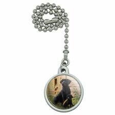 Black Labrador Retriever Dog Puppy Ceiling Fan and Light Pull Chain