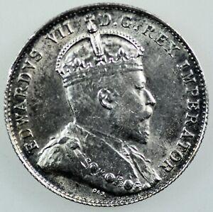 CANADA:King Edward VII 1902 H Silver 10 Cents, AU.