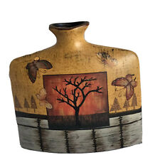 Butterfly Tree Square Modern  Ceramic Red Gold Gray Vase