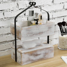 MyGift 2 Tier Whitewashed Wood & Black Metal Tabletop Shelf Rack with Tissue Box
