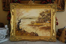 Original Oil Painting On Board By Peicong Of A Country Scene Mount On Gold Frame