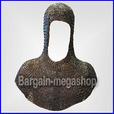 Riveted Chain Mail Coif Round Rivet with Flat Solid Ring Coif Standard Size SCA