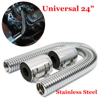 "24"" Stainless Steel Car Pipe Radiator Coolant Water Flexible Hose Adapter Kit"