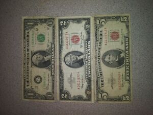 1963 $5 $2 $1 FRN Dollars Paper Money Circulated Red / Green Seal  Currency