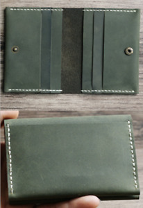 driver's license certificate card cow Leather case bag holder handmade green 910