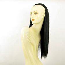 Demi-tête, demi-perruque 60cm noir ref 014 en 1b