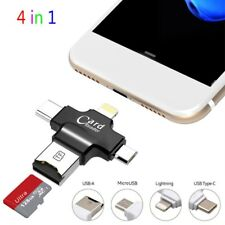1 USB Memory Card Reader 4in1 Adapter Lightning Type C TF/SD For Android iPhone