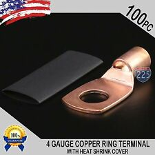 "100 PCS 4 AWG 4 GA Copper Ring Terminal Heat Shrink 3/8"" Hole Lug Connector US"