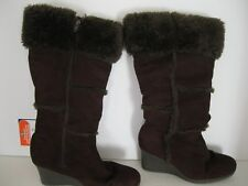 LADIES DECREE FAUX SUEDE WEDGE ZIP KNEE HIGH BOOTS SIZE 8.5M