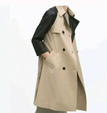 NWT $169 Zara Woman Trench Coat W/Faux Leather 3/4 Sleeves Size Medium