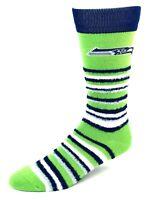 Seattle Seahawks For Bare Feet Muchas Rayas Fuzzy Crew Socks