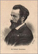 1884 : ILLUSTRATION / GRAVURE : PORTRAIT Richard CORTAMBERT Géographe
