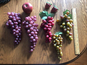 Vintage Rubber Grapes 5 Clusters Artificial Decorative Fruit Staging