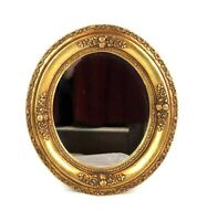 Vintage Victorian Antique Style Ornate Oval Mirror Gold Flowers Plaster