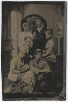 Young Men & Women in Fancy Dress w/Japanese Umbrella Victorian Studio Tintype