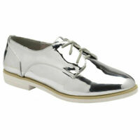 WOMENS DOLCIS KIA SILVER LACE-UP SMART CASUAL MEMORY FOAM SHOES SIZES 3-8