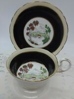 RARE VTG GRAFTON & SONS FINE BONE CHINA CUP & SAUCER ENGLAND BLACK/GOLD/ORANGE