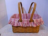 Longaberger 1998 Medium Market basket pink & white striped liner double handles