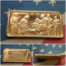 "1 Troy oz .999 Fine Silver Bar/Round Hamilton Mint ""Signing of the Constitution"""